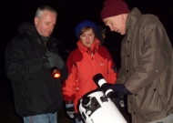Learning about the scopes with society member Howard Watson (Image Credit: Maria Prchlik / RSPB)